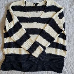 H&M Navy/White Stripes V-Neck Sweater Small